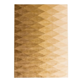 Solo Rugs Grit and Ground Collection Contemporary Harlequin Natural Hand-Knotted Area Rug, Cream/White, 9' X 12' For Sale