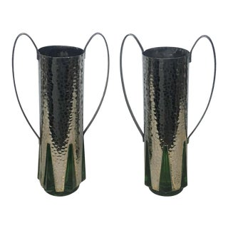 1930s English Art Deco Silver Plate and Green Glass Vases - Set of 2 For Sale