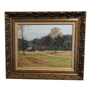 Original Oil Painting of Old Farmhouse in the Country For Sale