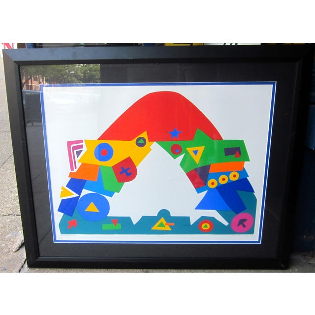 "Blue 1990s Daniel Gelakoska ""Stardome"" Graphic Primary Colors Serigraph Print For Sale - Image 8 of 8"