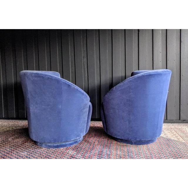 Wood Vladimir Kagan Nautilus Swivel Chairs Reupholstered in Blue Velvet, a Pair For Sale - Image 7 of 13