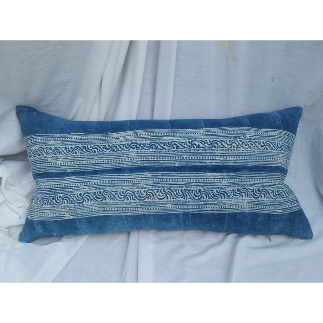 Vintage pillow front made from a soft blue batik design. Created by the Yao hill tribe people from a vintage 1000 pleat...