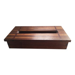 Mid Century Modern Mixed Wood Tissue Box For Sale
