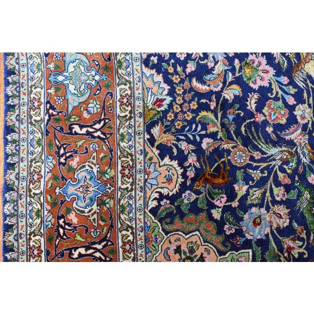 Blue Vintage Signed Persian Tabriz Wool & Silk Rug - 6′5″ × 9′7″ For Sale - Image 8 of 11