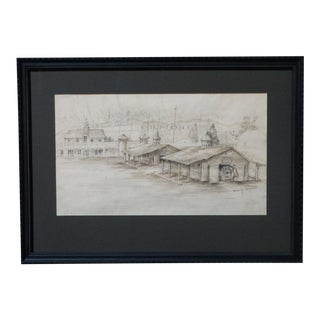 Bess Haddon Canright - Gilmore Racetrack 1910 Pen and Ink Drawing For Sale