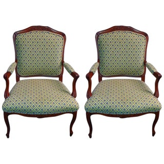 Louis XV Style Scalamandre Tapestry Upholstered Armchairs- A Pair For Sale