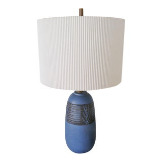 Blue Ceramic Lamp by Nancy Wickham With Shade For Sale