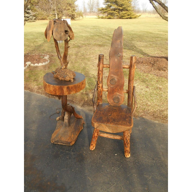 Antique Rustic Burl Wood Throne Chair For Sale - Image 5 of 6