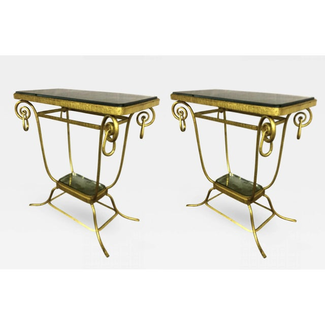 Gold Sue Et Mare Refined Pair of 2 Tier Console For Sale - Image 8 of 8
