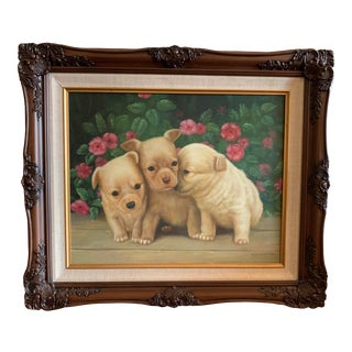 Late 20th Century Puppies Canvas Painting in Wood Frame Signed by Artist For Sale