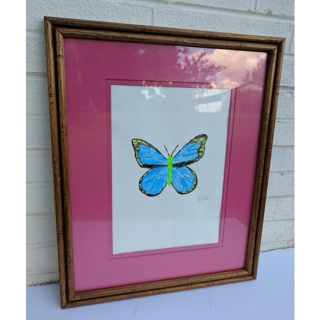 Boho Chic Original Acrylic Butterfly Painting Signed and Framed For Sale - Image 3 of 13