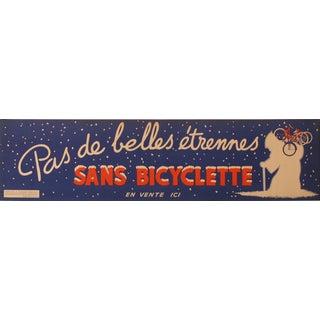 """1938 Original Advertising Banner, """"Pas De Belles étrennes Sans Bicyclette"""" For Sale"""
