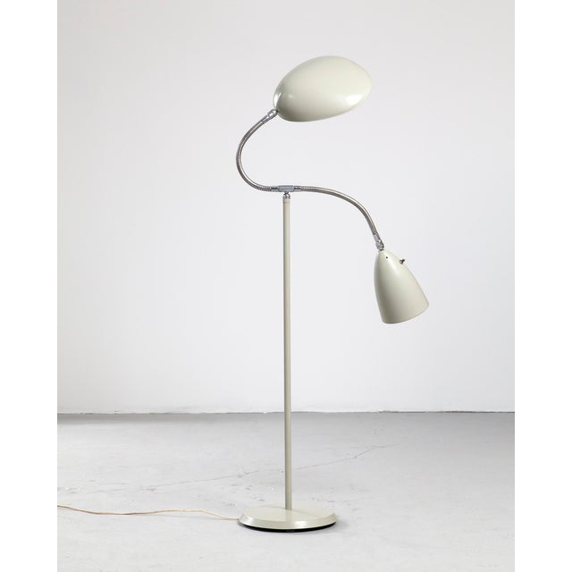"Mid-Century Modern Floor lamp with one cone shade and one ""Cobra"" shade For Sale - Image 3 of 6"