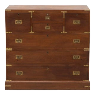 English Campaign Chest in Mahogany with Brass Hardware, Late 19th Century For Sale