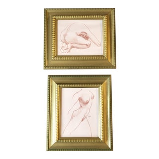 Gallery Wall Collection 2 Vintage Original Sepia Female Nude Drawings Framed-Set of 2 For Sale