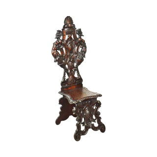 Antique 19th Century Victorian Carved Walnut Hall Chair W/Devil Heads For Sale