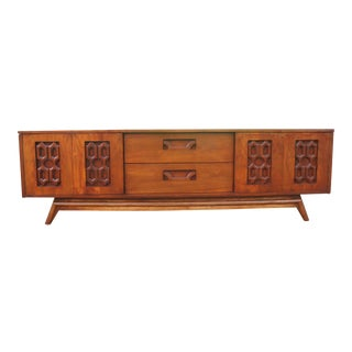Mid-Century Modern Walnut Low and Long Credenza
