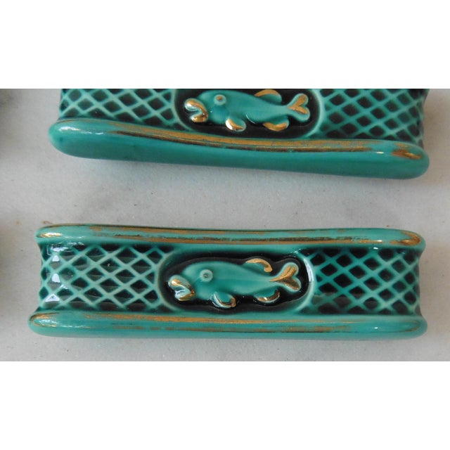 Boho Chic Green Majolica Knife Rests With Fish - Set of 12 For Sale - Image 3 of 5