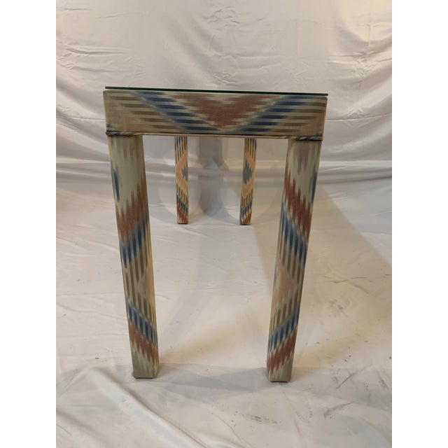 Vintage Upholstered Parsons Console Table For Sale - Image 10 of 13