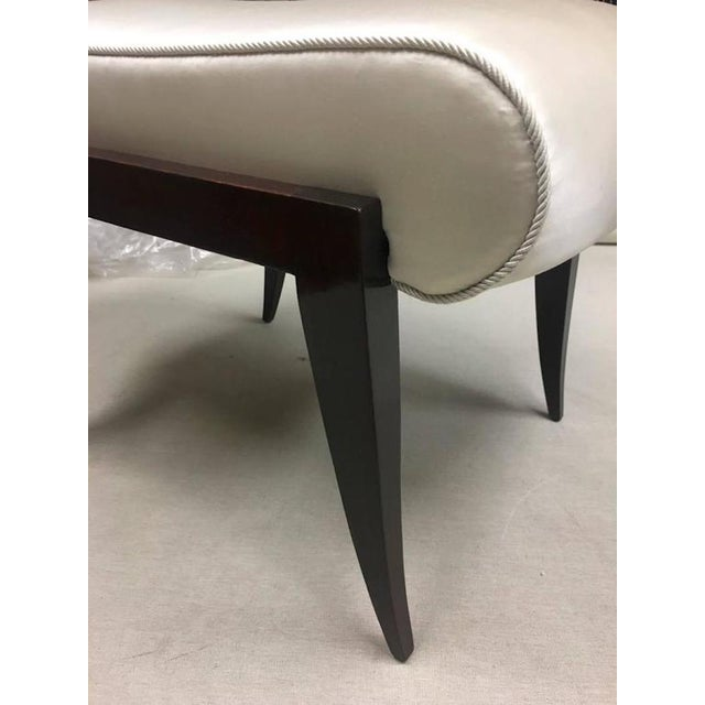Art Deco Maison Dominique Rarest Refined Art Deco Bench Newly Covered in Satin Silk For Sale - Image 3 of 6