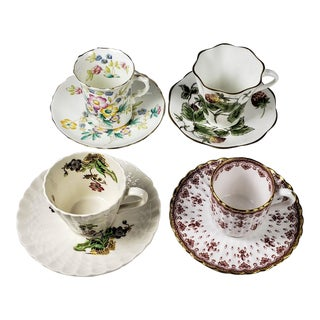 Vintage English Bone China Demitasse Cups and Saucers - Set of 4 For Sale