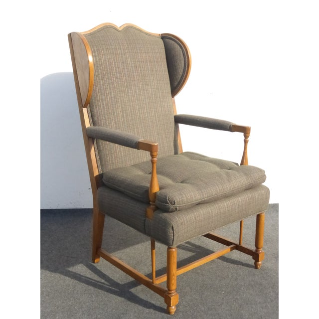 Monterey Style Ladder Back Accent Chair: Vintage Monterey Style Wingback Arm Chair
