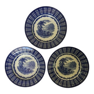 Antique Blue Rimmed Bowls in Breadalbane Pattern - Made in Cauldon, England - Set of Three For Sale