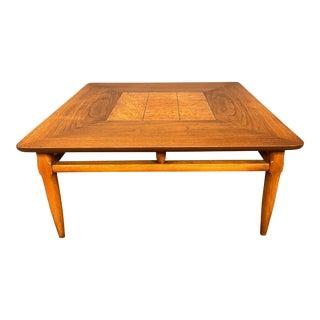 Vintage Mid Century Modern Walnut & Burl Wood Side Table by Lane For Sale