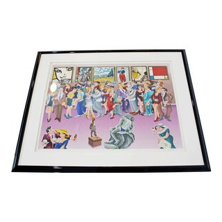 Contemporary Framed Signed Yuvhal Mahler Lithograph 1980s Party at Art Exhibit For Sale