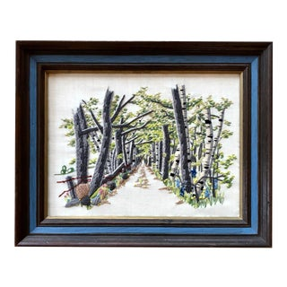 20th Century Crewel Embroidery Birch Tree Path Wall Art For Sale