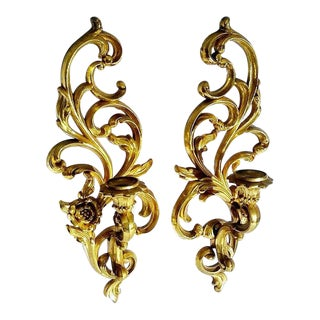 1960s Vintage French Gold Candle Sconces Syroco - a Pair For Sale