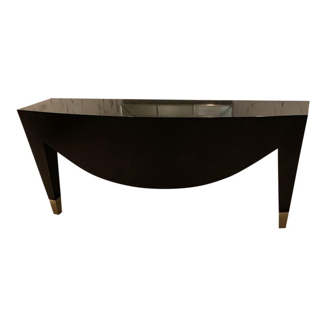 Modern Wood With Metal Cap Legs Wall Console For Sale