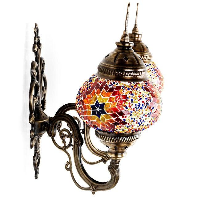 Turkish Handmade Mosaic Double Wall Sconce - Image 4 of 9