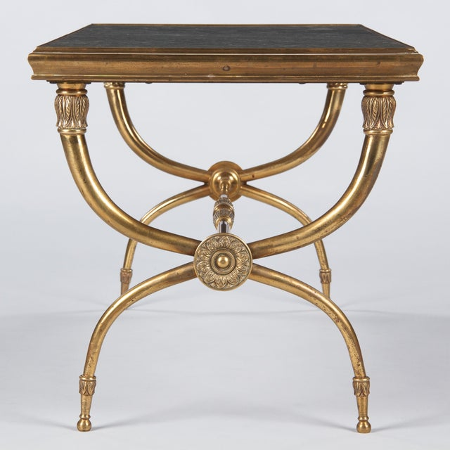 French Mid-Century Brass and Marble Coffee Table For Sale - Image 11 of 13