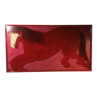 "Late 20th Century ""Red and Pink Horse"" Signed Lithograph by Walasse Ting, Framed For Sale"