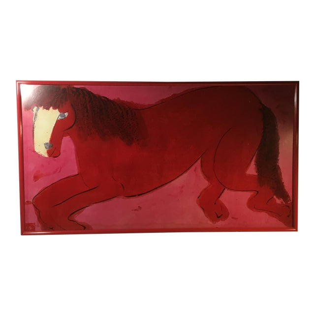 """Late 20th Century """"Red and Pink Horse"""" Signed Lithograph by Walasse Ting, Framed For Sale"""