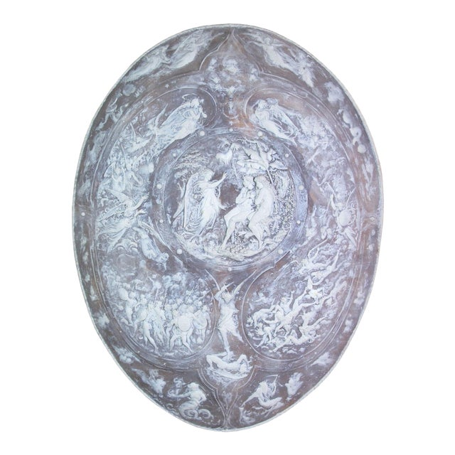 Milton Cameo Shield Poem Paradise Lost War in Heaven Scene Agate Wall Hanging For Sale