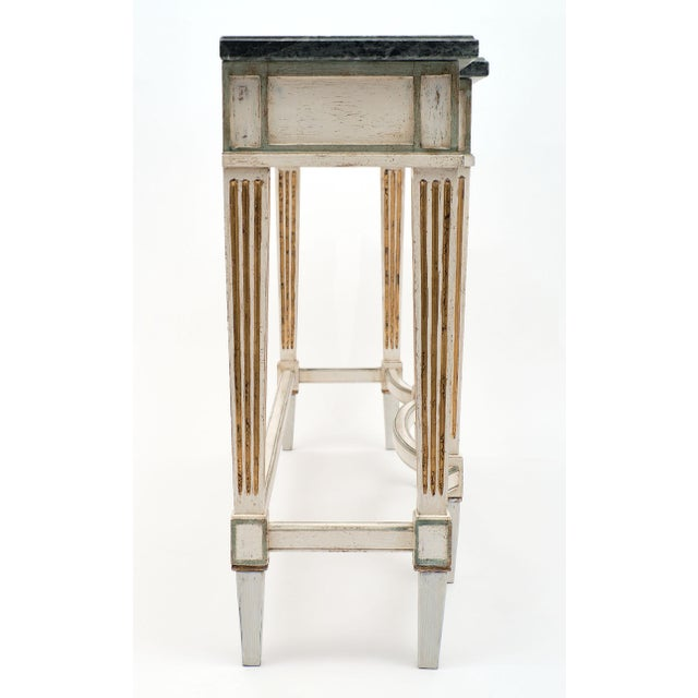 Bronze Directoire Style Console Table With Pietra Verde Marble Top For Sale - Image 7 of 10