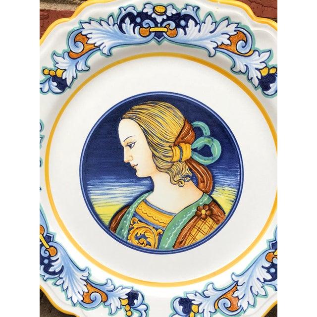 Italian Deruta Italian Renaissance Woman Ceramic Serving Plate For Sale - Image 3 of 8