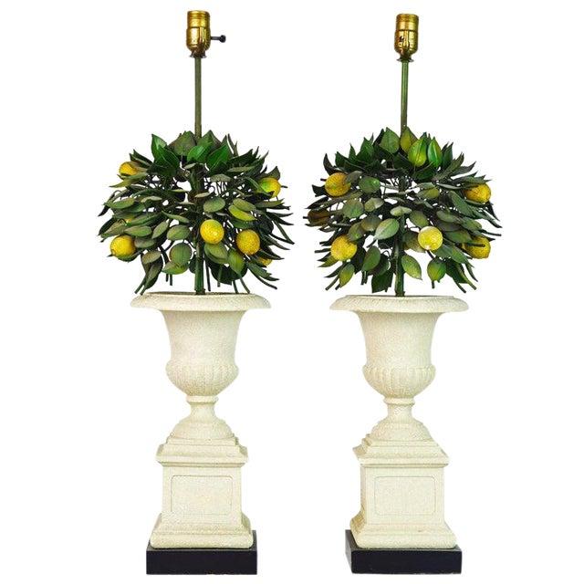 Pair of Vintage Italian Painted Tole Lemon Bush Lamps in Cast Stone Urns For Sale