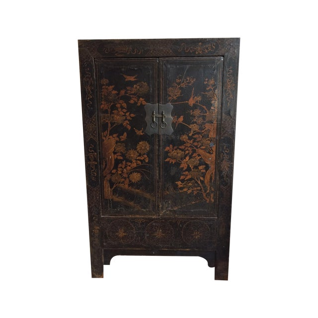 Chinese Black & Gilt Lacquered Armoire - Image 1 of 3