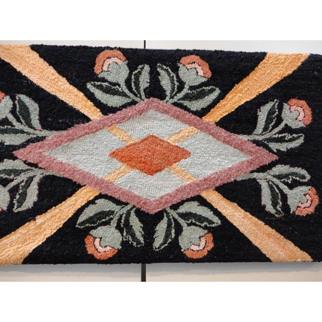 Fantastic Floral and Graphic Mounted Hand-Hooked Rug For Sale - Image 4 of 5