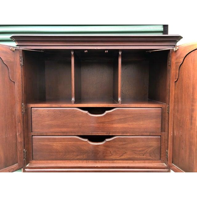 Georgian Ethan Allen Georgian Court Cherry Armoire Dresser For Sale - Image 3 of 12