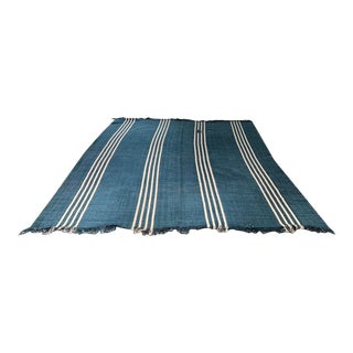 Blue and Ivory Striped Area Rug For Sale