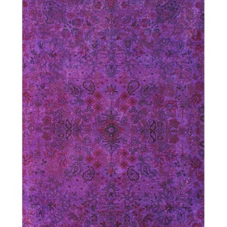 Vintage Purple Overdyed Rug - 9′ X 12′ For Sale