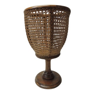 Vintage Tall Bent Wood and Wicker Planter For Sale