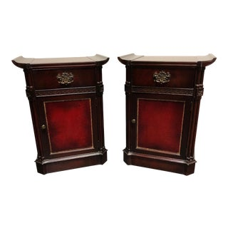 Vintage Mahogany & Tooled Leather Asian Style Nightstand Bedside Cabinets - Pair For Sale