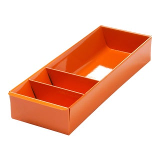 Steel Tanker Drawer Insert Repurposed as Desktop Organizer, Refinished in Tangerine For Sale