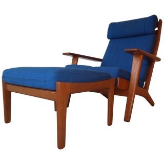 Hans Wegner Teak Lounge Chair With Ottoman for Getama For Sale