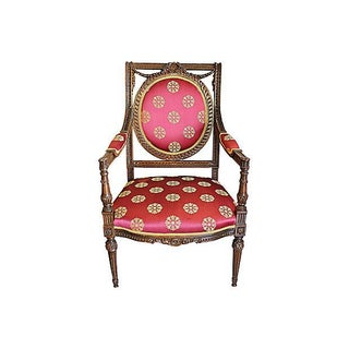 French Regence Red & Carved Wood Fauteuil Armchair For Sale